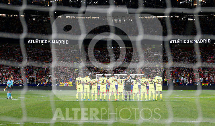 Getafe's team during La Liga match. Aug 18, 2019. (ALTERPHOTOS/Manu R.B.)Getafe's team before the Spanish La Liga match between Atletico de Madrid and Getafe CF at Wanda Metropolitano Stadium in Madrid, Spain