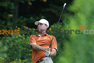 University of Texas redshirt sophomore Tayler Termeer watches his drive on Hole 8 during the Carpet Capital Collegiate at The Farm Golf Club in Rocky Face, Ga., on Sunday, Sept. 8. The Longhorns return to The Farm as defending champions after shooting a 13-under 851 in 2012.<br /> <br /> Photo by Patrick Smith
