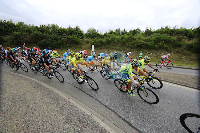 Riders including Alberto Contador (ESP) Tinkoff pass through Segre during Stage 3 of the 2016 Tour de France, running 223.5km from Granville to Angers, France . 4th July 2016.<br /> Picture: Eoin Clarke | Newsfile<br /> <br /> <br /> All photos usage must carry mandatory copyright credit (&copy; Newsfile | Eoin Clarke)