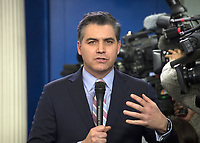 CNN Chief White House Correspondent Jim Acosta speaks live to his viewers prior to White House Principal Deputy Press Secretary Raj Shah conducting the daily briefing in the Brady Press Briefing Room of the White House in Washington, DC on Thursday, February 8, 2018.  <br /> CAP/MPI/RS<br /> &copy;RS/MPI/Capital Pictures