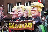 Düsseldorf, Germany. 27 February 2017. Blond is the new brown, float with Adolf Hitler, Geert Wilders, Marie Le Pen and Donald Trump. Carnival parade on Shrove Monday (Rosenmontag) in Düsseldorf, North Rhine-Westphalia, Germany.