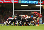 Wales scrum half Mike Phillips waits to put the ball in at the scrum.<br /> Dove Men Series 2014<br /> Wales v Fiji<br /> Millennium Stadium<br /> 15.11.14<br /> ©Steve Pope-SPORTINGWALES