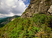 Scenic view of Cannon Mountain from Eagle Pass, along Greenleaf Trail, in Franconia Notch of the White Mountains, New Hampshire.