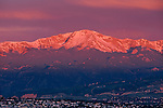 Sunrise light on Pikes Peak, which overlooks the city of Colorado Springs, Colorado.