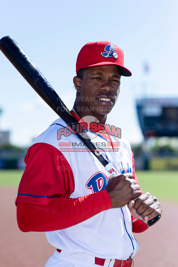 Stockton Ports outfielder Lazaro Armenteros (13) poses for a photo before a game against the San Jose Giants at Banner Island Ballpark on April 9, 2019 in Stockton, California. (Zachary Lucy/Four Seam Images)