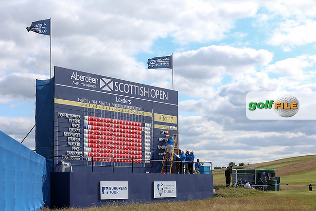 Scoreboard on the last during the First Round of the 2015 Aberdeen Asset Management Scottish Open, played at Gullane Golf Club, Gullane, East Lothian, Scotland. /09/07/2015/. Picture: Golffile | David Lloyd<br /> <br /> All photos usage must carry mandatory copyright credit (&copy; Golffile | David Lloyd)