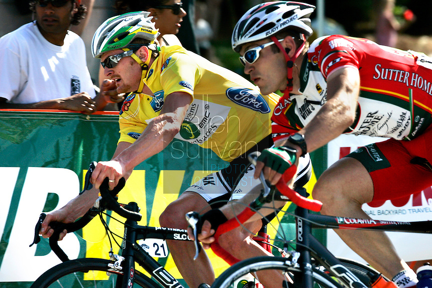 Floyd Landis (left), of Phonak Hearing Systems, and Viktor Rapinksi, of KodakGallery.com-Sierra Nevada, race in Alpharetta, Ga. during the Stage 6 finishing circuits of the Ford Tour de Georgia on Sunday, April 23, 2006. Juan Jos&eacute; Haedo of Toyota-United Pro won the 118.2-mile (190.2-km) stage from Cumming to Alpharetta. Landis won the entire Tour de Georgia stage race.<br />