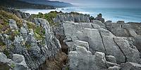 Sunrise over pancake rocks in Punakaiki, Paparoa National Park, West Coast,  Buller Region, New Zealand, NZ
