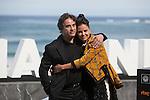 Actors Eduard Fernandez and Elena Anaya pose during `Lejos del mar´ film presentation at 63rd Donostia Zinemaldia (San Sebastian International Film Festival) in San Sebastian, Spain. September 24, 2015. (ALTERPHOTOS/Victor Blanco)