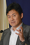 April 2, 2013, Tokyo, Japan - Hiroshi Mikitani, CEO of the e-commerce operator Rakuten, speaks in English during a news conference at Tokyo's Foreign Correspondents' Club of Japan on Tuesday, April 2, 2013. Mikitani introduced an English-only policy for company communications in May 2010 as part of his push to globalize the Japanese Web commerce firm.  (Photo by Natsuki Sakai/AFLO)