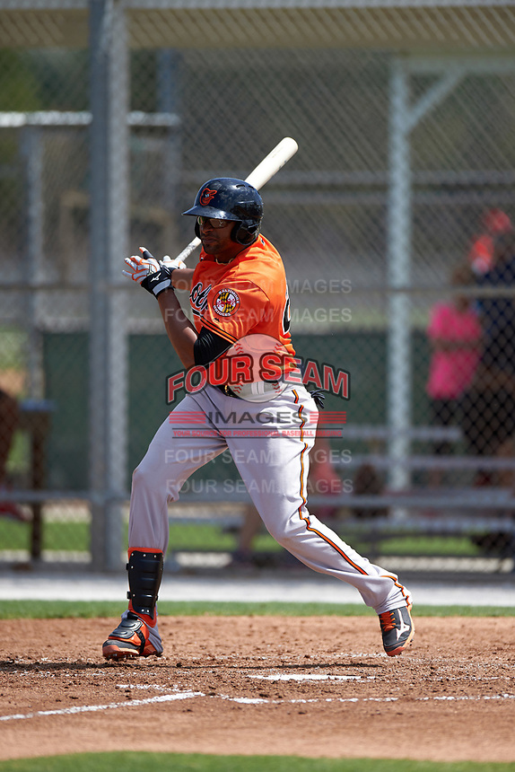 Baltimore Orioles Henry Urrutia (23) during a minor league Spring Training game against the Minnesota Twins on March 16, 2016 at CenturyLink Sports Complex in Fort Myers, Florida.  (Mike Janes/Four Seam Images)
