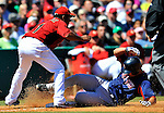 11 March 2011: Boston Red Sox catcher Mark Wagner slides safely into third with an RBI triple during a Spring Training game against the Houston Astros at Osceola County Stadium in Kissimmee, Florida. The Red Sox defeated the Astros 9-3 in Grapefruit League play. Mandatory Credit: Ed Wolfstein Photo