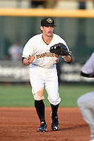 Bradenton Marauders shortstop Max Moroff (31) waits for a throw in a run down during a game against the Jupiter Hammerheads on June 25, 2014 at McKechnie Field in Bradenton, Florida.  Bradenton defeated Jupiter 11-0.  (Mike Janes/Four Seam Images)