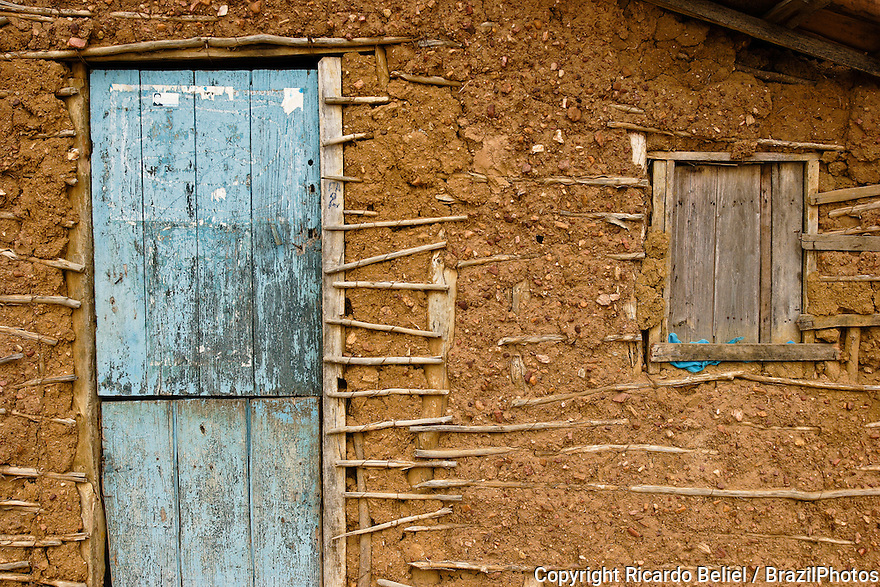 Wattle and daub house ( casa de pau-a-pique ) Rural area of Cabrobó city, Pernambuco State, countryside Brazil.