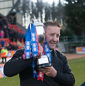 24th March 2018, McDiarmid Park, Perth, Scotland; Scottish Football Challenge Cup Final, Dumbarton versus Inverness Caledonian Thistle; Inverness Caledonian Thistle manager John Robertson with the Irn-Bru Cup