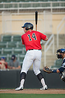 Corey Zangari (14) of the Kannapolis Intimidators at bat against the Asheville Tourists at Kannapolis Intimidators Stadium on May 26, 2016 in Kannapolis, North Carolina.  The Tourists defeated the Intimidators 9-6 in 11 innings.  (Brian Westerholt/Four Seam Images)