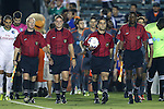 28 September 2016: Match Officials. From left: Assistant Referee Forrest M. Ambrose, Fourth Official Justin Finger, Referee Alex Chilowicz, and Assistant Referee Justin Howard. The Carolina RailHawks hosted the New York Cosmos at WakeMed Soccer Park in Cary, North Carolina in a 2016 North American Soccer League Fall Season match. The Cosmos won the game 2-0.