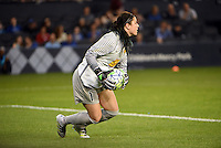 Kansas City, Kansas - Saturday April 16, 2016: Western New York Flash goalkeeper Sabrina D'Angelo (1) holds the ball against FC Kansas City in the second half at Children's Mercy Park. Western New York won 1-0.