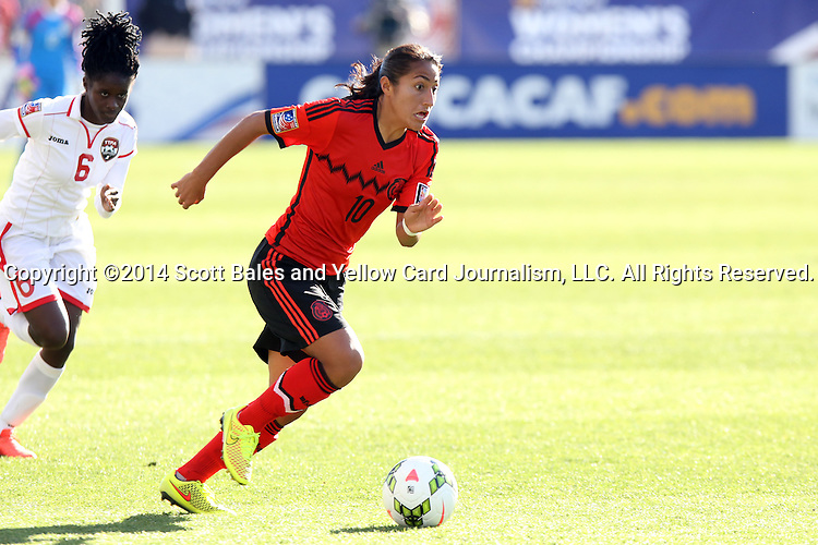 26 October 2014: Sandra Stephany Mayor (MEX) (10) and Khadidra Debessete (TRI) (6). The Trinidad & Tobago Women's National Team played the Mexico Women's National Team at PPL Park in Chester, Pennsylvania in the 2014 CONCACAF Women's Championship Third Place game. Mexico won the game 4-2 after extra time. With the win, Mexico qualified for next year's Women's World Cup in Canada and Trinidad & Tobago face playoff for spot against Ecuador.
