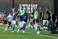 30th July 2020; Craven Cottage, London, England; English Championship Football Playoff Semi Final Second Leg, Fulham versus Cardiff City; Fulham Manager Scott Parker and the Fulham bench appeal for a throw in as Leandro Bacuna of Cardiff City poor touch puts the ball out of play