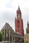 Red tower of Saint Jan's church, Sint Janskerk, Maastricht, Limburg province, Netherlands,