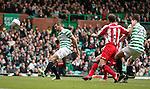 Joe Ledley misses a sitter in front of goal