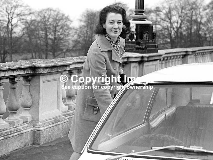 Mrs Anne Dickson, MP, Carrickfergus, in the N Ireland Parliament at Stormont.  She is pictured parking her car on arrival at Stormont. She is a supporter of the moderate Ulster Unionist leader, Captain Terence O'Neill. 197109000319AD1<br /> <br /> Copyright Image from Victor Patterson,<br /> 54 Dorchester Park, Belfast, UK, BT9 6RJ<br /> <br /> t1: +44 28 90661296<br /> t2: +44 28 90022446<br /> m: +44 7802 353836<br /> <br /> e1: victorpatterson@me.com<br /> e2: victorpatterson@gmail.com<br /> <br /> For my Terms and Conditions of Use go to<br /> www.victorpatterson.com