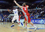 February 4, 2015 - Colorado Springs, Colorado, U.S. -    Air Force guard, Trevor Lyons #20, looks for an inbound pass during a Mountain West Conference match-up between the New Mexico Lobos and the Air Force Academy Falcons at Clune Arena, U.S. Air Force Academy, Colorado Springs, Colorado.  Air Force upsets New Mexico 53-49.
