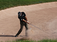 Robert Coles (ENG) plays out of the bunker on the last during the final round of the 2013 ISPS Handa Wales Open from the Celtic Manor Resort, Newport, Wales. Picture:  David Lloyd / www.golffile.ie