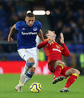 23rd  November 2019; Goodison Park , Liverpool, Merseyside, England; English Premier League Football, Everton versus Norwich City; Richarlison of Everton  clashes with Kenny McLean of Norwich City as they compete for the ball - Strictly Editorial Use Only. No use with unauthorized audio, video, data, fixture lists, club/league logos or 'live' services. Online in-match use limited to 120 images, no video emulation. No use in betting, games or single club/league/player publications
