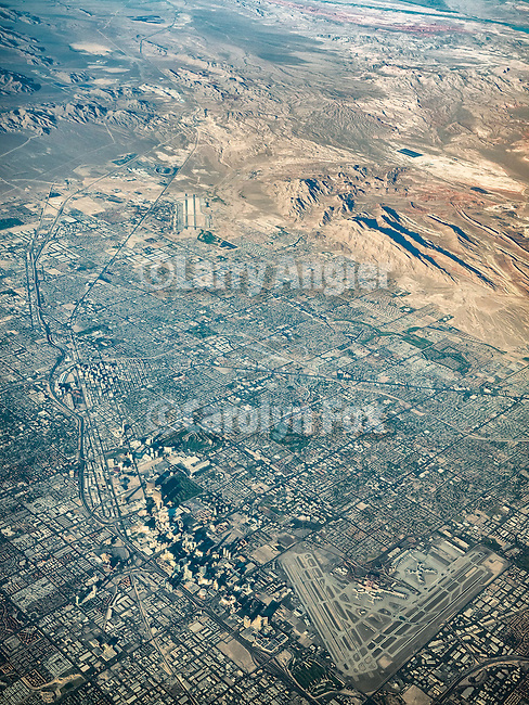 Las Vegas, The Strip, Mccarran International Airport, Nev., from a window seat at 37,000 feet.