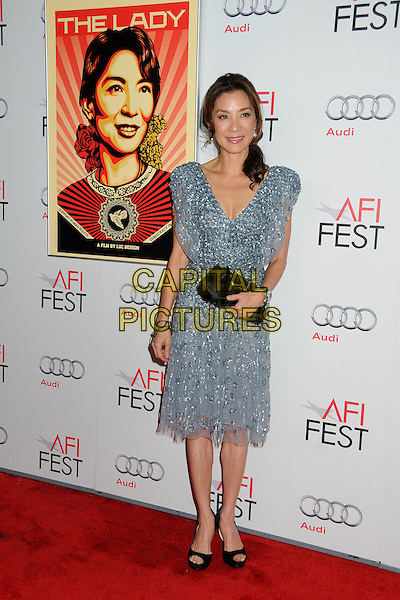 "Michelle Yeoh.AFI Fest 2011 Gala Screening of ""The Lady"" held at Grauman's Chinese Theatre, Hollywood, California, USA..November 4th, 2011.full length blue silver grey gray beads beaded dress black clutch bag.CAP/ADM/BP.©Byron Purvis/AdMedia/Capital Pictures."