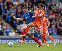 Portsmouth's Oliver Hawkins (left) under pressure from Shrewsbury Town's Oliver Norburn (right) <br /> <br /> Photographer David Horton/CameraSport<br /> <br /> The EFL Sky Bet League One - Portsmouth v Shrewsbury Town - Saturday September 8th 2018 - Fratton Park - Portsmouth<br /> <br /> World Copyright &copy; 2018 CameraSport. All rights reserved. 43 Linden Ave. Countesthorpe. Leicester. England. LE8 5PG - Tel: +44 (0) 116 277 4147 - admin@camerasport.com - www.camerasport.com