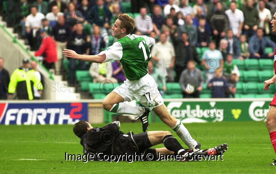 12/08/2001          Copyright Pic : James Stewart .Ref : DSC_4902                          .File Name : stewart07-hibs v aberdeen.TOM MCMANUS SCORES THE SECOND GOAL.....James Stewart Photo Agency, Stewart House, Stewart Road, Falkirk. FK2 7AS      Vat Reg No. 607 6932 25.Office : +44 (0)1324 630007     Mobile : + 44 (0)7721 416997.Fax     :  +44 (0)1324 630007.E-mail : jim@jspa.co.uk.If you require further information then contact Jim Stewart on any of the numbers above.........