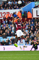 Martin Olsson of Swansea City vies for possession with Yannick Bolasie of Aston Villa during the Sky Bet Championship match between Aston Villa and Swansea City at Villa Park in Birmingham, England, UK.  Saturday 20 October  2018