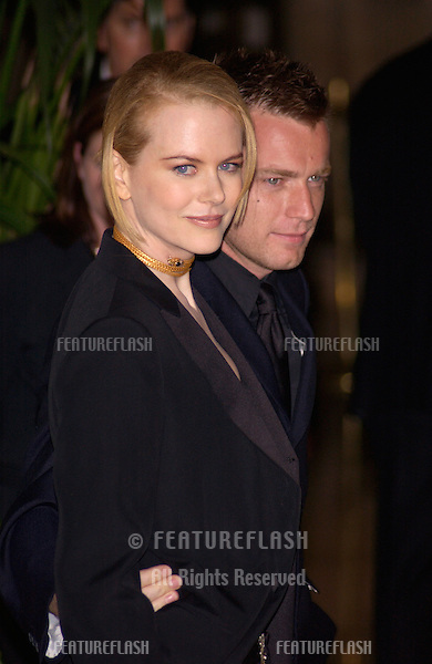 Actress NICOLE KIDMAN & actor EWAN McGREGOR at the gala awards ceremony for the 5th Annual Hollywood Film Festival. They were awarded the prizes for movie actor & actress of the year for their roles in Moulin Rouge..06AUG2001.  © Paul Smith/Featureflash