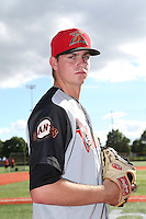 Mac Marshall (14) of the Salem-Keizer Volcanoes poses for a photo before a game against the Hillsboro Hops at Ron Tonkin Field on July 26, 2015 in Hillsboro, Oregon. Hillsboro defeated Salem-Keizer, 4-3. (Larry Goren/Four Seam Images)