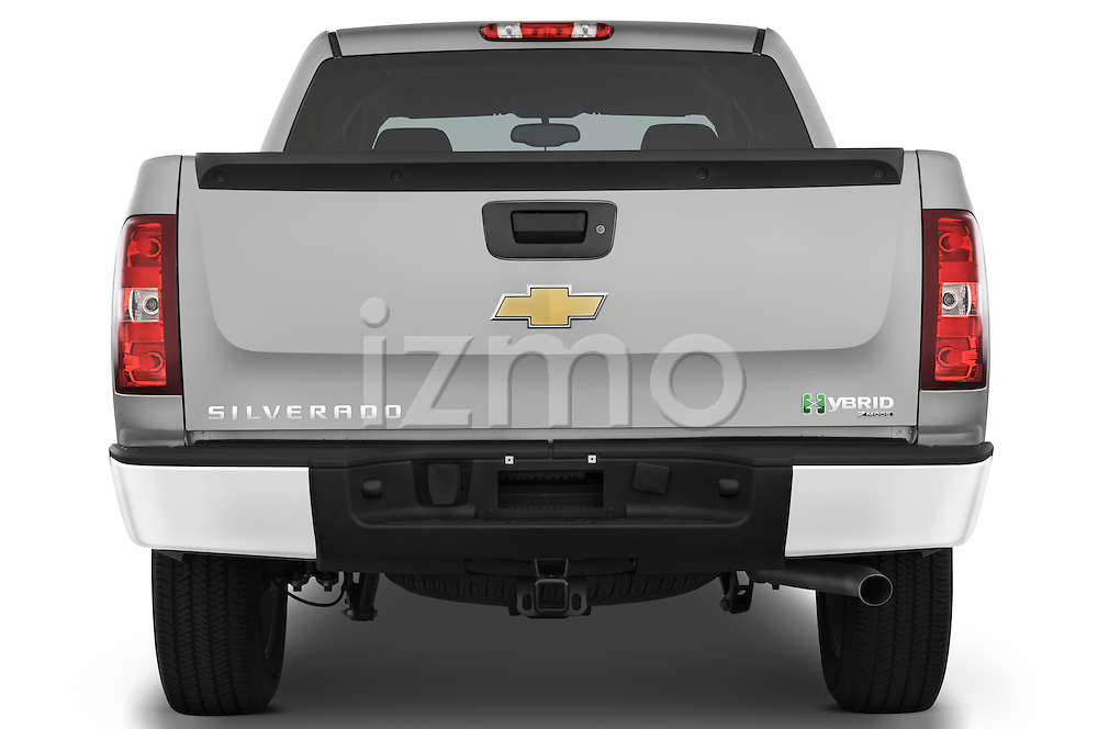 Straight rear view of a 2009 Chevrolet Silverado Hybrid
