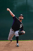 Colorado Rockies pitcher Tyler Chatwood (32) throws a bullpen session during an instructional league game against the SK Wyverns on October 10, 2015 at the Salt River Fields at Talking Stick in Scottsdale, Arizona.  (Mike Janes/Four Seam Images)