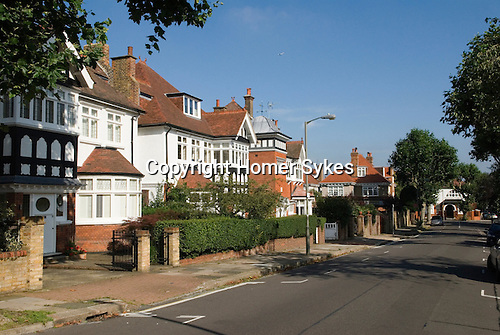 Putney, south west London UK 2007. Genoa Avenue. Typical large expensive private homes.