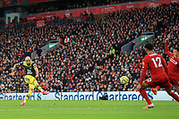 1st February 2020; Anfield, Liverpool, Merseyside, England; English Premier League Football, Liverpool versus Southampton; Nathan Redmond of Southampton shoots from the edge of the penalty area
