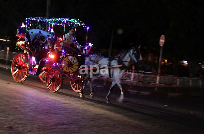 Palestinians enjoy riding a Hantour in a street in Gaza City, on Sept. 01, 2013. Photo by Ashraf Amra