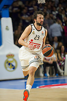 Real Madrid´s Sergio Llull during 2014-15 Euroleague Basketball match between Real Madrid and Galatasaray at Palacio de los Deportes stadium in Madrid, Spain. January 08, 2015. (ALTERPHOTOS/Luis Fernandez) /NortePhoto /NortePhoto.com