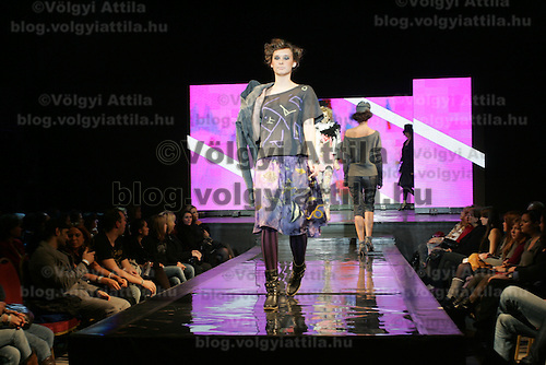 Model presents creations from Hungarian designer Virag Toth during the Budapest Fashion Week held in Budapest, Hungary on November 24, 2010. ATTILA VOLGYI
