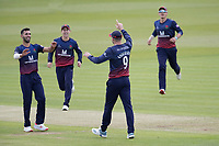 James Anderson of Lancashire CCC celebrates following the run out of Max Holden of Middlesex CCC during Middlesex vs Lancashire, Royal London One-Day Cup Cricket at Lord's Cricket Ground on 10th May 2019