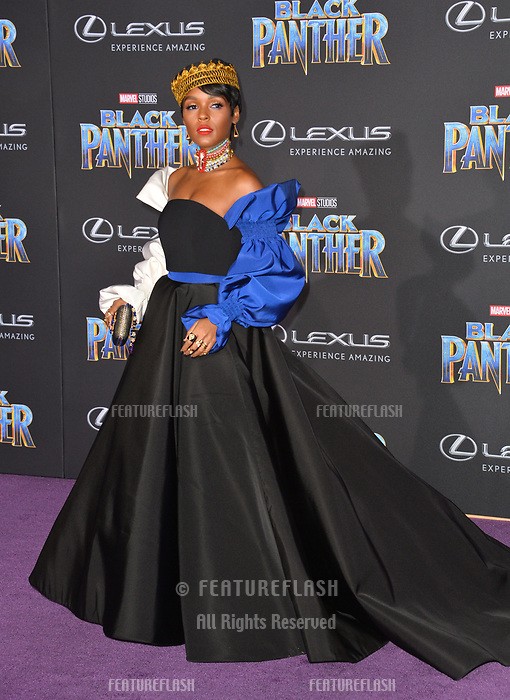 """Janelle Monae at the world premiere for """"Black Panther"""" at the Dolby Theatre, Hollywood, USA 29 Jan. 2018<br /> Picture: Paul Smith/Featureflash/SilverHub 0208 004 5359 sales@silverhubmedia.com"""