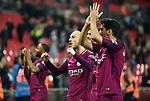 David Silva of Manchester City thanks the fans at the end of the premier league match at the Wembley Stadium, London. Picture date 14th April 2018. Picture credit should read: Robin Parker/Sportimage