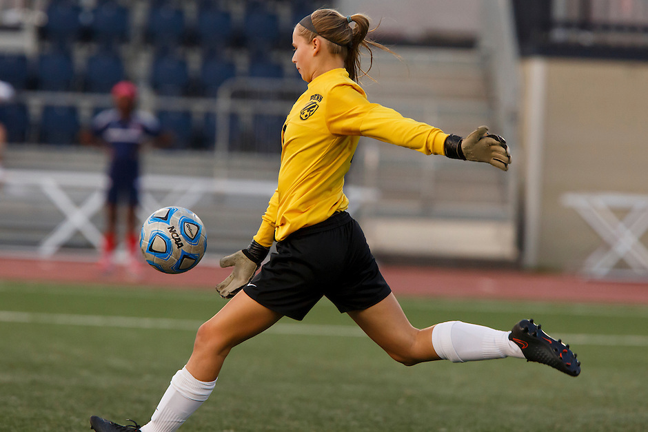 Penn keeper Sommer Domal kicks the ball during the IHSAA Class 2A Girls Soccer State Championship Game on Saturday, Oct. 29, 2016, at Carroll Stadium in Indianapolis. Special to the Tribune/JAMES BROSHER