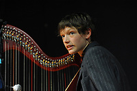 Machynlleth, Wales. 28th July, 2017. <br /> Cerys Hafana, Wesh Harpist, performing at the festival acoustic evening session.<br /> Photographer; Kevin Hayes