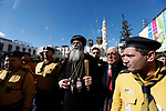 Jerusalem Coptic Orthodox Church Bishop Anba Antonius attends the Christmas mass celebrations at the Church of the Nativity, in the West Bank town of Bethlehem, 06 January 2019. The Church of the Nativity, built on the site where Jesus Christ is believed to have been born in the West Bank city of Bethlehem, is administered jointly by Greek Orthodox, Roman Catholic, Armenian Apostolic, and Syriac Orthodox church. Orthodox believers celebrate Christmas Day on 07 January, according to the Julian calendar. Photo by Wisam Hashlamoun